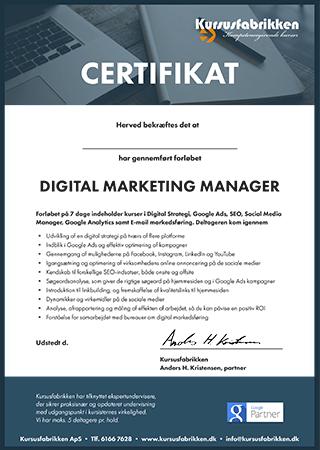 Du får et certifikat efter endt forløb Digital Marketing Manager – 8 dage
